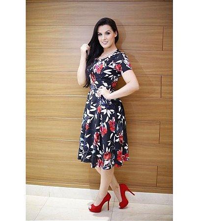 Vestido Lady like em crepe estampado - 5584 - NK3