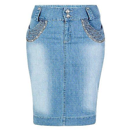 Saia Jeans Plus Size Marsilha | Saiaria | Moda Evangélica