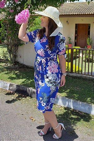 Vestido Estampado com Laço na Manga  8856 - L'Seve