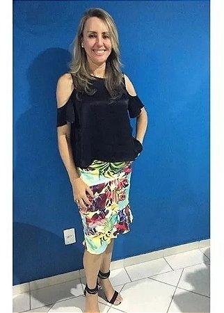 Saia Estampada Verão/floral Moda Evangélica/executiva - Saiaria