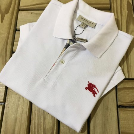 Camisa Gola Polo Burberry Branca