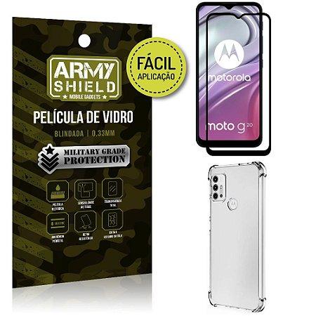 Kit Moto G20 Película 3D Fácil Aplicação + Capa Anti Impacto - Armyshield