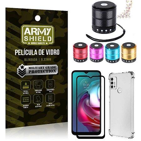 Kit Moto G30 Mini Som Bluetooth + Capa Anti Impacto + Película Vidro 3D - Armyshield