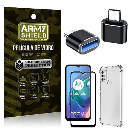 Kit Moto G10 Adaptador OTG Tipo C para USB + Capa Anti Impacto + Película 3D - Armyshield