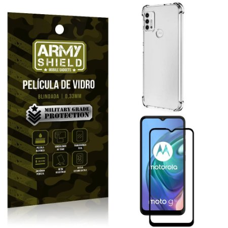 Kit Moto G10 Capinha Anti Impacto + Película de Vidro 3D - Armyshield