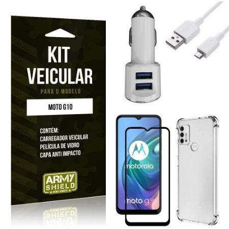 Kit Moto G10 Carregador Veicular Tipo C + Capa Anti Impacto + Película Vidro 3D - Armyshield