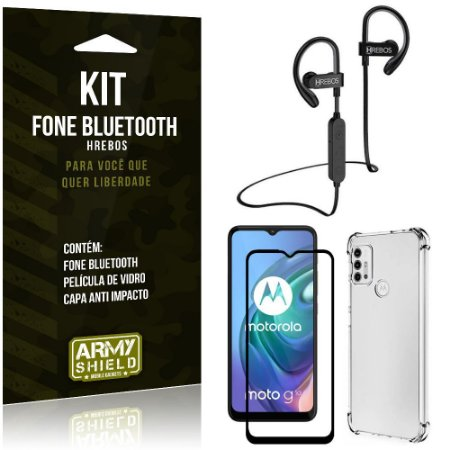 Kit Moto G10 Fone Bluetooth HS188 + Película 3D + Capa Anti Impacto - Armyshield