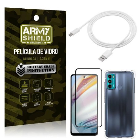 Kit Moto G60 Cabo USB Tipo C 2m + Capa Anti Impacto + Película Vidro 3D - Armyshield