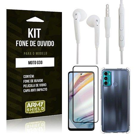 Kit Moto G60 Fone de Ouvido + Capa Anti Impacto + Película Vidro 3D - Armyshield