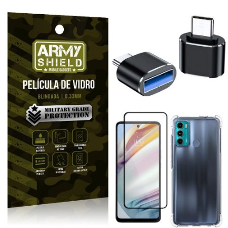 Kit Moto G60 Adaptador OTG Tipo C para USB + Capa Anti Impacto + Película 3D - Armyshield