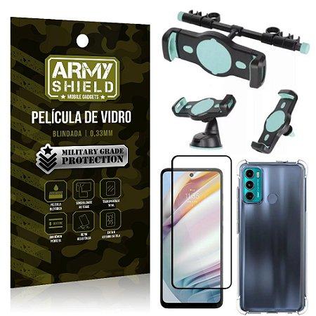 Kit Moto G60 Suporte Veicular 3 em 1 + Película 3D + Capa Anti Impacto - Armyshield