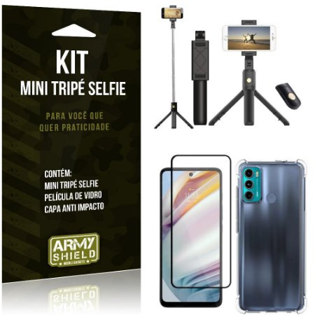 Kit Moto G60 Mini Tripé Selfie Bluetooth para + Capa Anti Impacto + Película 3D - Armyshield