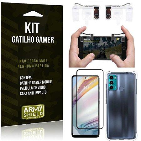 Kit Moto G60 Gatilho Gamer + Capa Anti Impacto + Película Vidro 3D - Armyshield