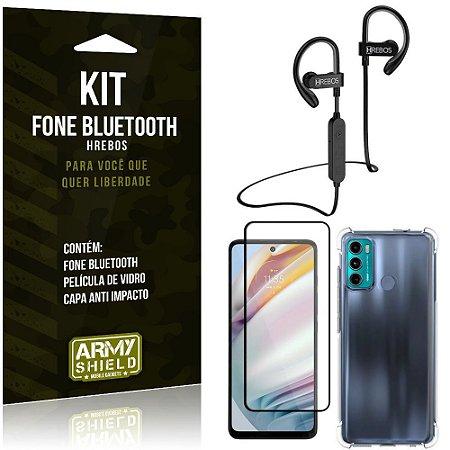 Kit Moto G60 Fone Bluetooth HS188 + Película 3D + Capa Anti Impacto - Armyshield