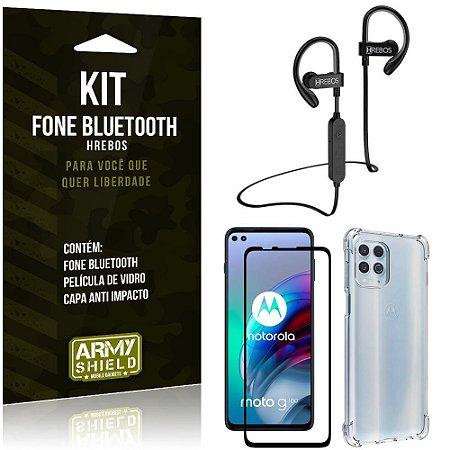 Kit Moto G100 5G Fone Bluetooth HS188 + Película 3D + Capa Anti Impacto - Armyshield