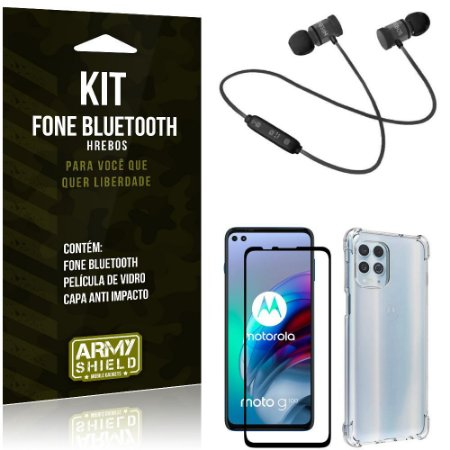 Kit Moto G100 5G Fone Bluetooth KD901 + Capa Anti Impacto + Película Vidro 3D - Armyshield