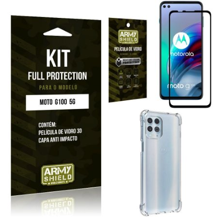Kit Moto G100 5G Full Protection com Película de Vidro 3D + Capa Anti Impacto - Armyshield