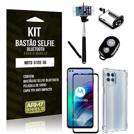 Kit Moto G100 5G Bastão de Selfie Bluetooth + Capinha Anti Impacto + Película Vidro 3D - Armyshield