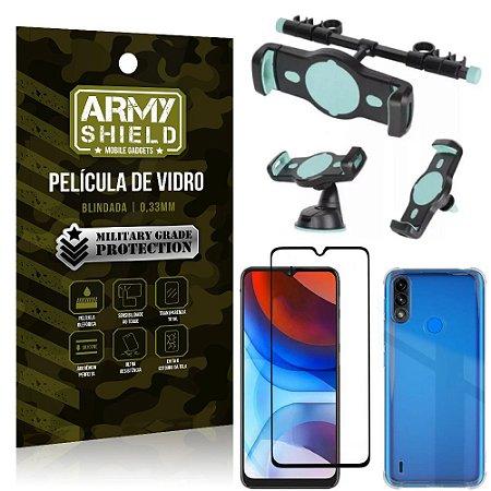 Kit Moto E7 Power Suporte Veicular 3 em 1 + Película 3D + Capa Anti Impacto - Armyshield