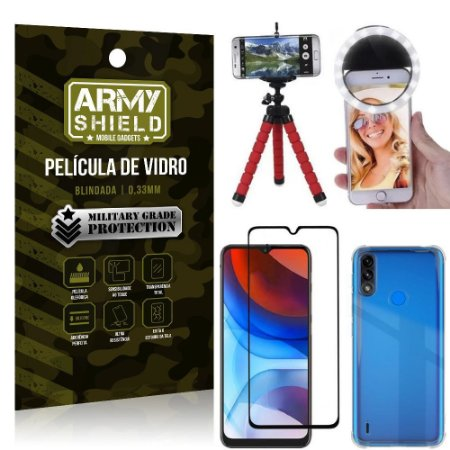 Kit Moto E7 Power Tripé Flex + Flash Ring + Capa Anti Impacto + Película 3D - Armyshield
