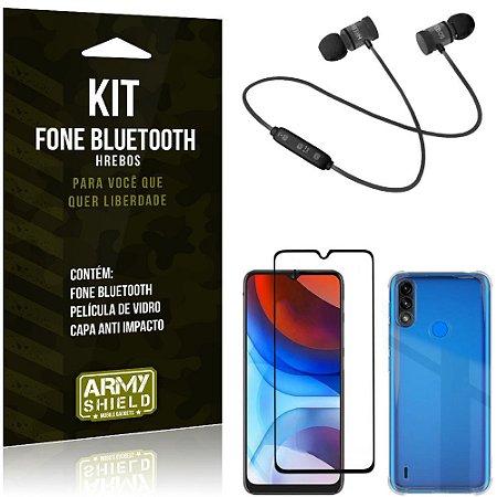 Kit Moto E7 Power Fone Bluetooth KD901 + Capa Anti Impacto + Película Vidro 3D - Armyshield