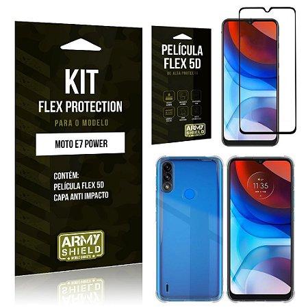 Kit Moto E7 Power Flex Protection com Película Flex + Capa Anti Impacto - Armyshield