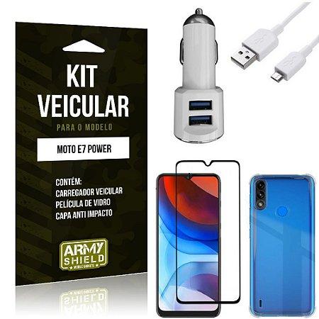 Kit Moto E7 Power Carregador Veicular Tipo C + Capa Anti Impacto + Película Vidro 3D - Armyshield