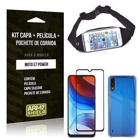 Kit Moto E7 Power Pochete + Capinha Anti Impacto + Película de Vidro 3D - Armyshield