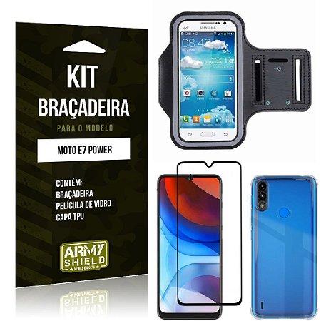 Kit Moto E7 Power Braçadeira + Capinha Anti Impacto + Película de Vidro 3D - Armyshield