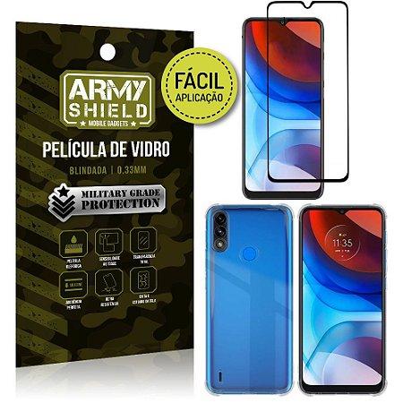 Kit Moto E7 Power Película 3D Fácil Aplicação + Capa Anti Impacto - Armyshield