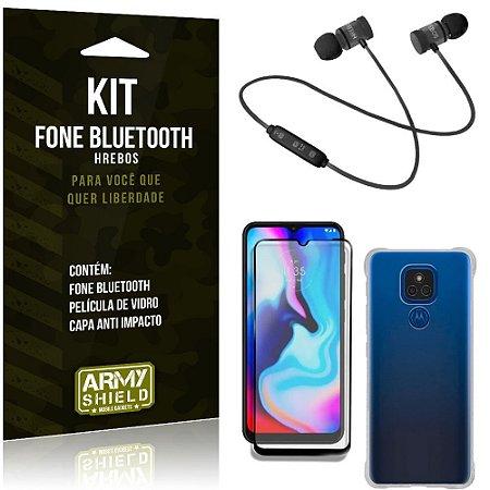 Kit Moto E7 Plus Fone Bluetooth KD901 + Capa Anti Impacto + Película Vidro 3D - Armyshield