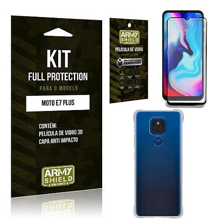 Kit Moto E7 Plus Full Protection com Película de Vidro 3D + Capa Anti Impacto - Armyshield