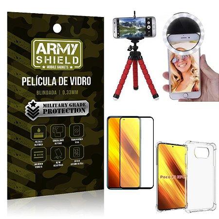 Kit Poco X3 Tripé Flex + Flash Ring + Capa Anti Impacto + Película 3D - Armyshield