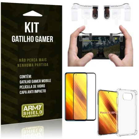 Kit Poco X3 Gatilho Gamer + Capa Anti Impacto + Película Vidro 3D - Armyshield