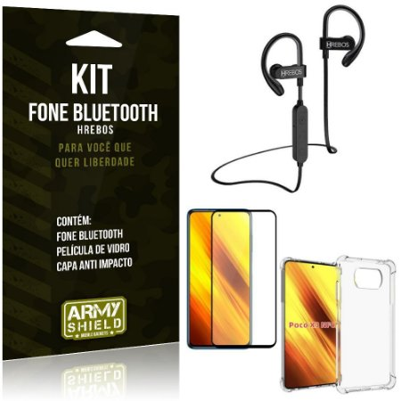 Kit Poco X3 Fone Bluetooth HS188 + Película 3D + Capa Anti Impacto - Armyshield