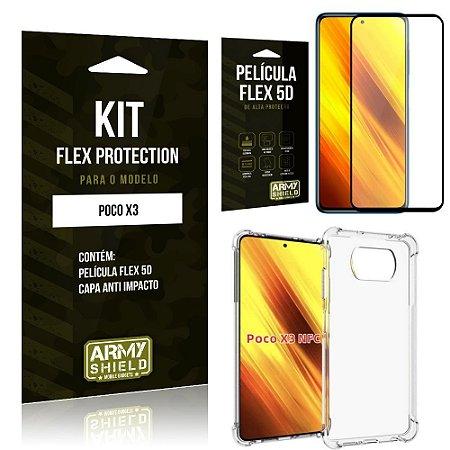 Kit Poco X3 Flex Protection com Película Flex + Capa Anti Impacto - Armyshield