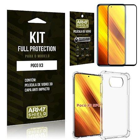 Kit Poco X3 Full Protection com Película de Vidro 3D + Capa Anti Impacto - Armyshield