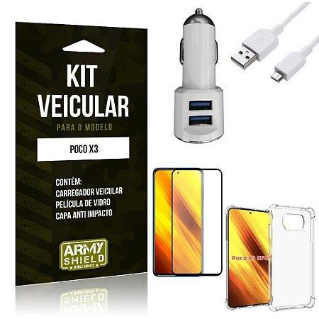 Kit Poco X3 Carregador Veicular Tipo C + Capa Anti Impacto + Película Vidro 3D - Armyshield