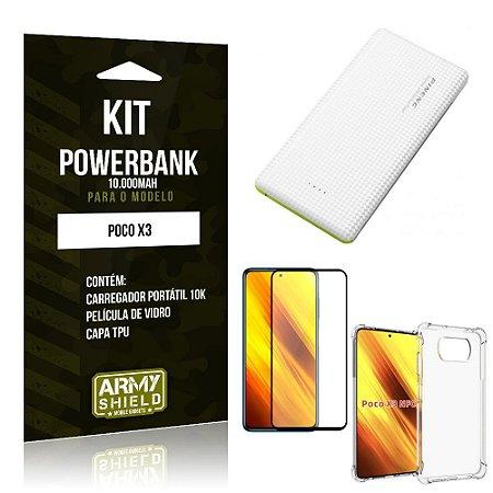 Kit Poco X3 Carregador Portátil 10K Tipo C + Capa Anti Impacto + Película Vidro 3D -Armyshield