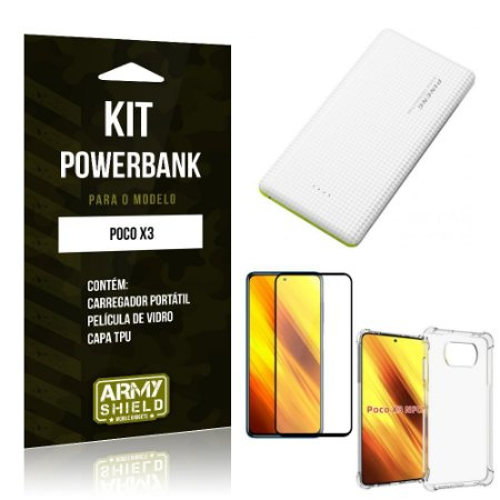 Kit Poco X3 Carregador Portátil 5K Tipo C + Capa Anti Impacto + Película Vidro 3D - Armyshield