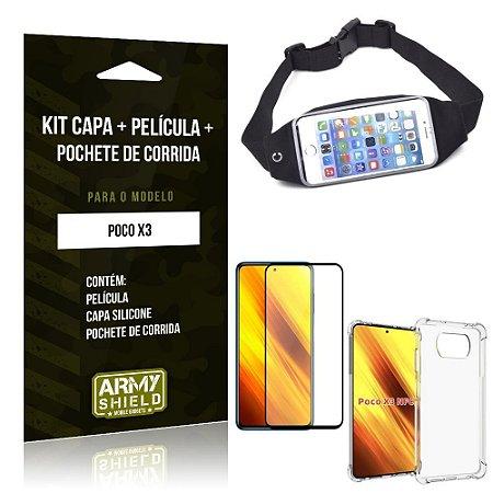 Kit Poco X3 Pochete + Capinha Anti Impacto + Película de Vidro 3D - Armyshield