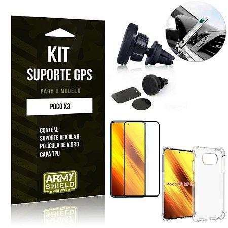 Kit Poco X3 Suporte Veicular Magnético + Capa Anti Impacto + Película Vidro 3D - Armyshield