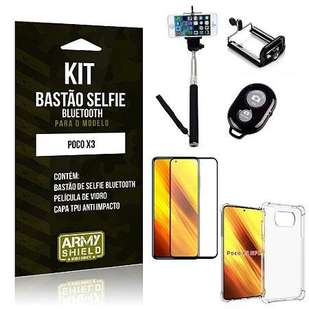 Kit Poco X3 Bastão de Selfie Bluetooth + Capinha Anti Impacto + Película Vidro 3D - Armyshield
