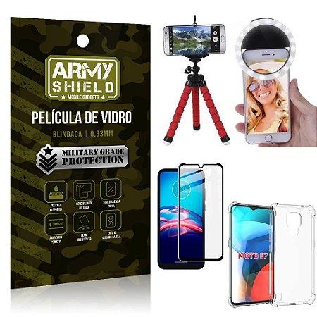 Kit Moto E7 Tripé Flex + Flash Ring + Capa Anti Impacto + Película 3D - Armyshield