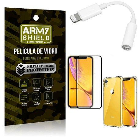 Kit iPhone XR Adaptador Fone + Capa Anti Impacto + Película Vidro 3D - Armyshield