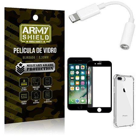 Kit iPhone 8 Plus Adaptador Fone + Capa Anti Impacto + Película Vidro 3D - Armyshield