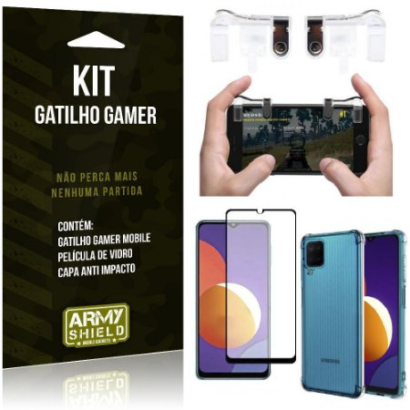 Kit Galaxy M12 Gatilho Gamer + Capa Anti Impacto + Película Vidro 3D - Armyshield