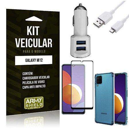 Kit Galaxy M12 Carregador Veicular Tipo C + Capa Anti Impacto + Película Vidro 3D - Armyshield