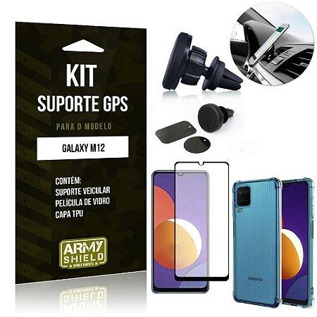 Kit Galaxy M12 Suporte Veicular Magnético + Capa Anti Impacto + Película Vidro 3D - Armyshield