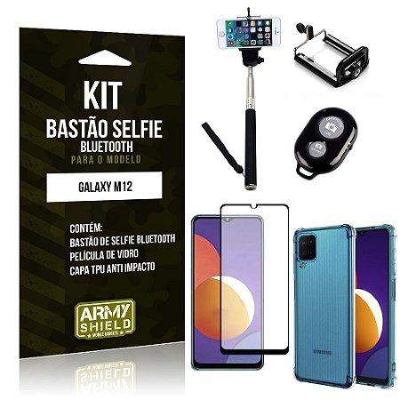 Kit Galaxy M12 Bastão de Selfie Bluetooth + Capinha Anti Impacto + Película Vidro 3D - Armyshield